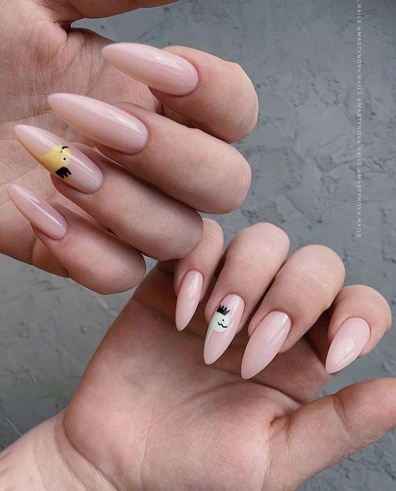 рисунки на миндальной форме ногтей