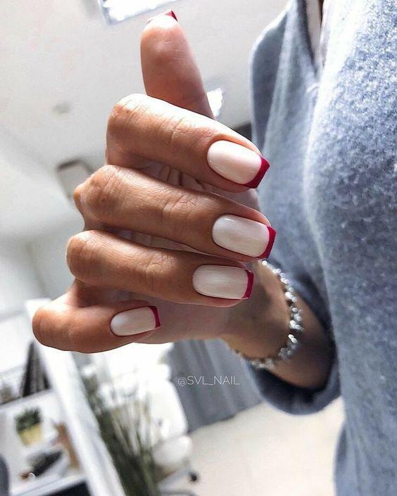 френч на квадратные ногти