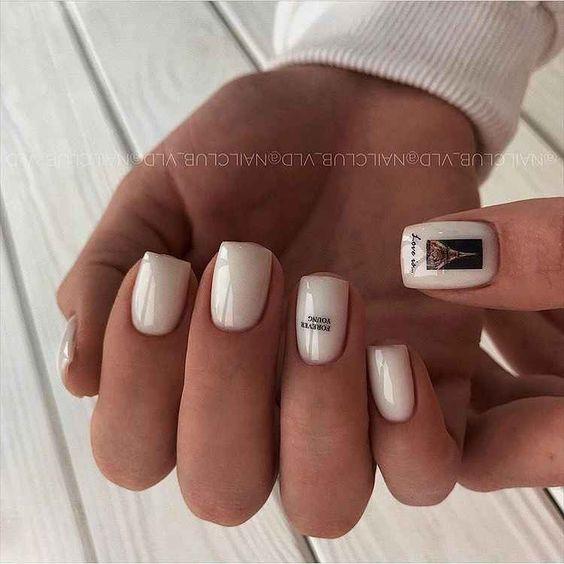 светлый маникюр квадратные ногти