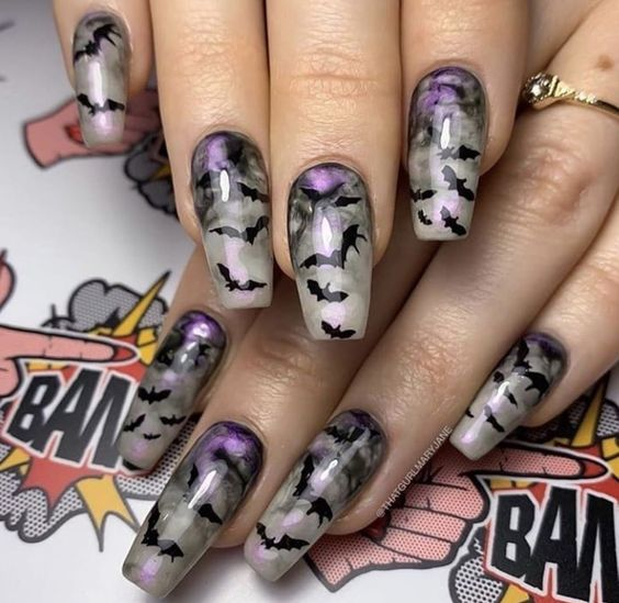 маникюр на Хэллоуин на длинные ногти