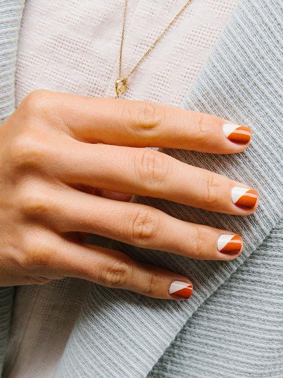 терракотовый маникюр на короткие ногти